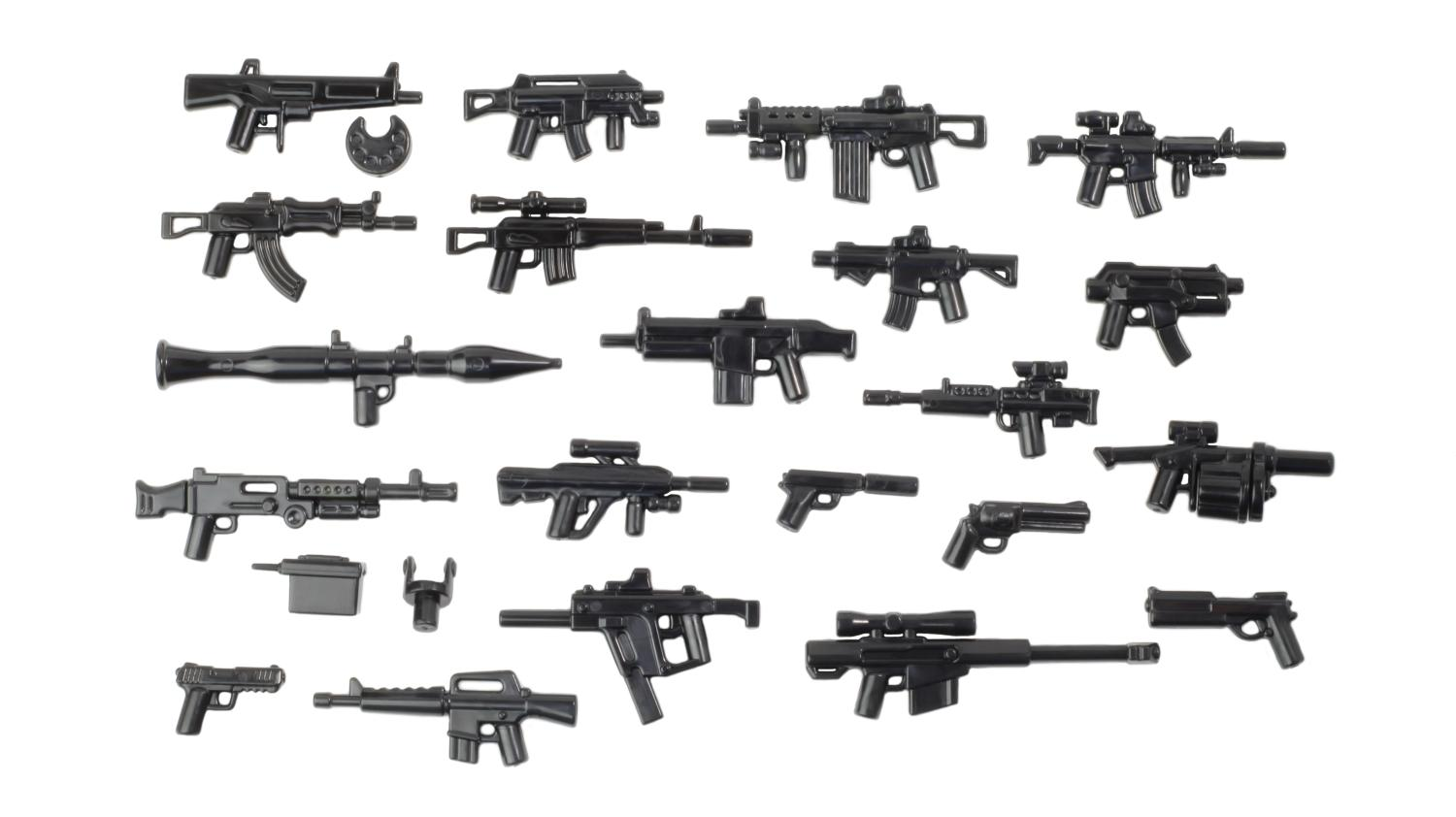 BrickArms Black UCS Pistol Weapons for Brick Minifigures
